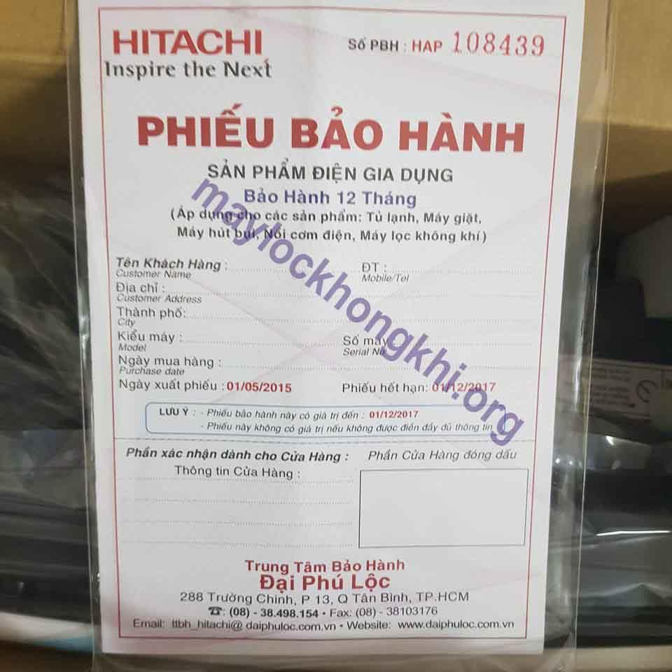 phiếu bảo hành máy lọc không khí hitachi ep-a3000